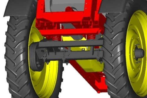 Sliding axle with suspension